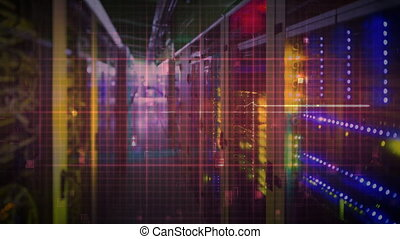 data center with heart monitor line