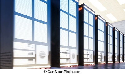 Data center with servers in a large room