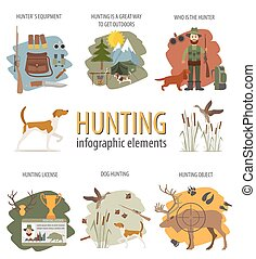 data., chasse, chasse, chien, équipement, infographic, statistique, template.