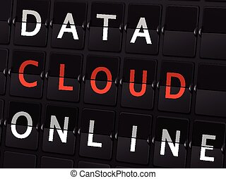 data cloud online words on airport board