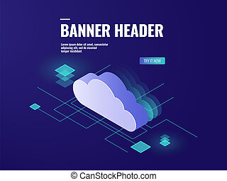 Data cloud storage technology isometric icon, server room, database and data center vector