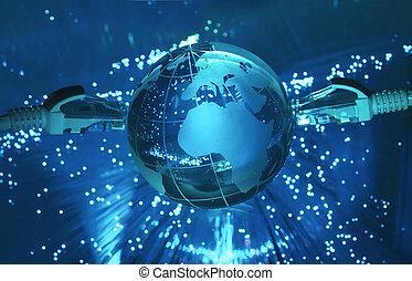 data computer, begreb, hos, jord