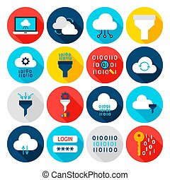 Data Computing Flat Icons