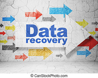 Data concept: arrow with Data Recovery on grunge wall...