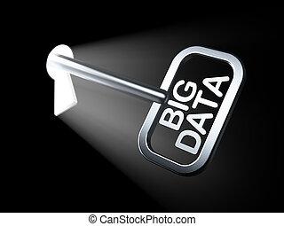 Data concept: Big Data on key in keyhole, 3d render