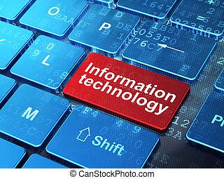 data, concept:, computer toetsenbord, met, woord, informatie technologie, op, binnengaan, knoop, achtergrond, 3d, render