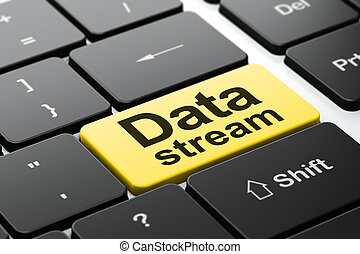 Data concept: Data Stream on computer keyboard background