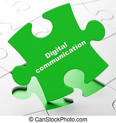Data concept: Digital Communication on puzzle background