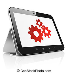 Data concept: Gears on tablet pc computer - Data concept:...