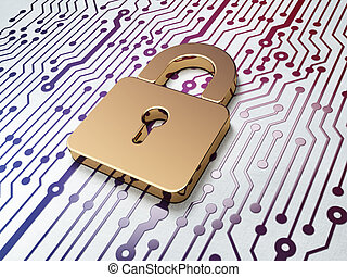 Data concept: Golden Closed Padlock on Circuit Board background
