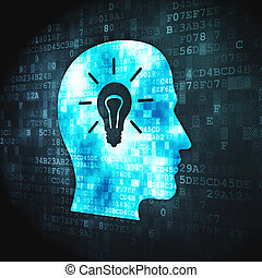 Data concept: Head Whis Light Bulb on digital background