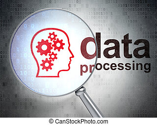 Data concept: Head With Gears and Data Processing with optical glass