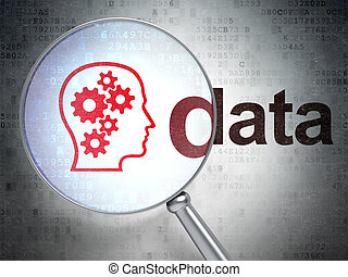Data concept: Head With Gears and Data with optical glass