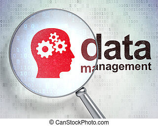 Data concept: Head With Gears and Data Management with optical glass