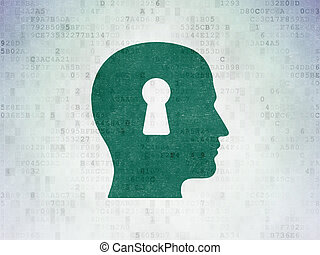 Data concept: Head With Keyhole on Digital Data Paper background