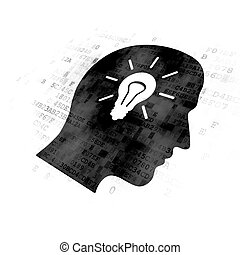 Data concept: Head With Light Bulb on Digital background