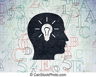 Data concept: Head With Light Bulb on Digital Paper background