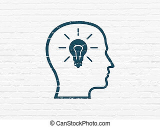 Data concept: Head With Lightbulb on wall background