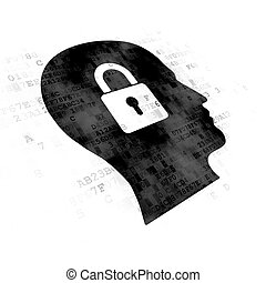 Data concept: Head With Padlock on Digital background