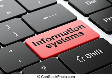 Data concept: Information Systems on computer keyboard background