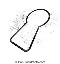 Data concept: Keyhole on Digital background