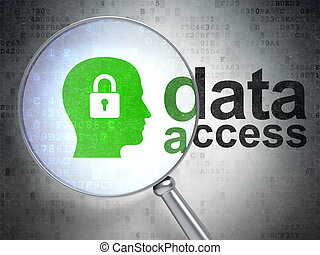 Data concept: magnifying optical glass with Head With Padlock icon and Data Access word on digital background, 3d render