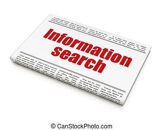 Data concept: newspaper headline Information Search