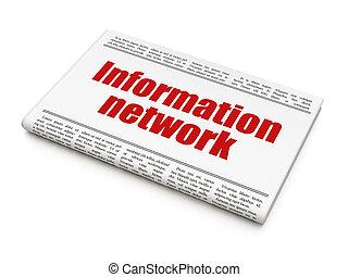 Data concept: newspaper headline Information Network