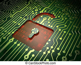 Data concept: Opened Padlock on circuit board background - ...