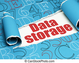 Data concept: red text Data Storage under the piece of torn paper