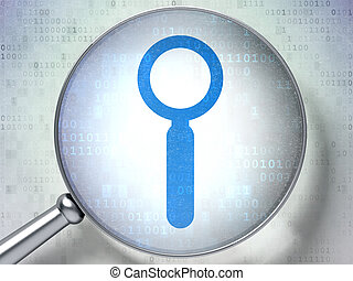 Data concept: Search with optical glass on digital background