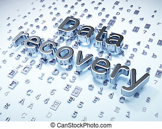 Data concept: Silver Data Recovery on digital background, 3d render