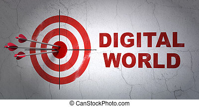 Data concept: target and Digital World on wall background