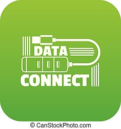Data connect icon green vector