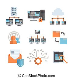 Data Connection Icons Set Cloud Computer Protection Hosting Server Database Synchronize Technology Concept