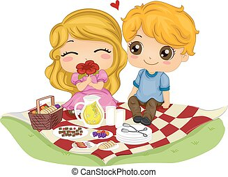 data, coppia, bambini, picnic