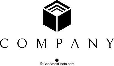 Data cube abstract black vector logo design