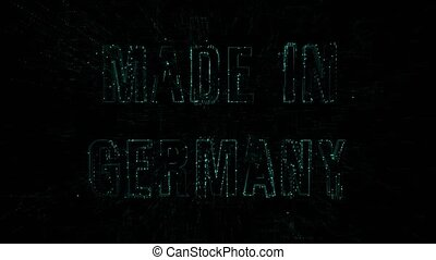 """Data digital code with blue text """"Made in Germany"""""""