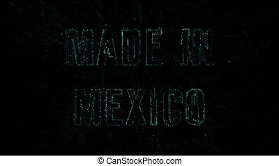 """Data digital code with blue text """"Made in Mexico"""""""