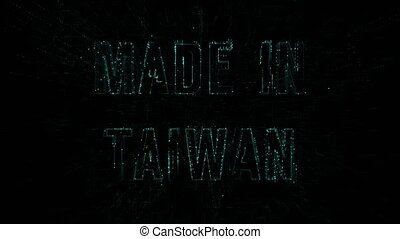 """Data digital code with blue text """"Made in Taiwan"""""""