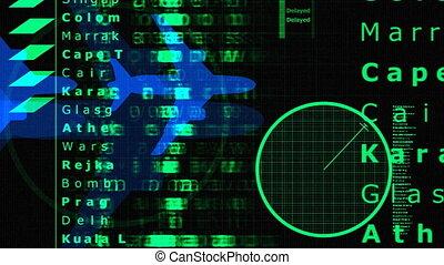 data, en, informatie, geassocieerd, met, vliegtuigen, en,...