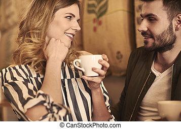 data, encantador, romanticos, cena