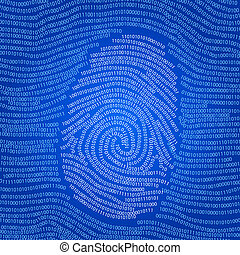 Fingerprint shape abstract vector background with digital data 1 and 0 pattern visualisation personal data technology