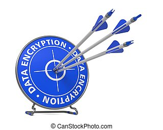 Data Encryption Concept. Three Arrows Hit in Blue Target.