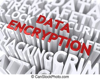 Data Encryption Concept. The Word of Red Color Located over...
