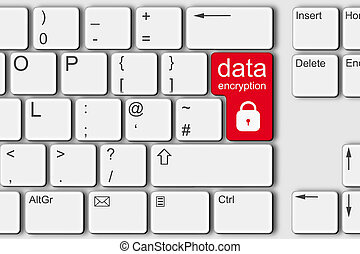 Data encryption lock concept PC computer keyboard 3d illustration red