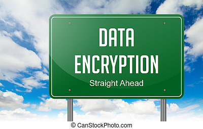 Data Encryption on Highway Signpost. - Highway Signpost with...