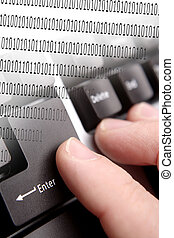 Data entry - Fingers on enter key of computer keyboard....