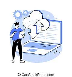 Data entry services abstract concept vector illustration. Database management service, data entry outsource company, remote professional operator, structured information abstract metaphor.