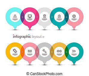 Data Flow with App Icons on Circles. Vector Infographic Design. Infographics Elements Set.